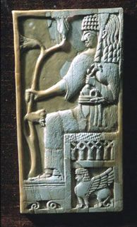 Ivory Plaque  From Fort Shalmaneser, Nimrud, Mesopotamia (modern Iraq) Ht 24.2 cm, Thickness 0.4 cm Date ca 9th century BC  [Nicholson Museum, The University of Sydney]