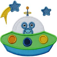 UFO Spaceship Applique by HappyApplique.com