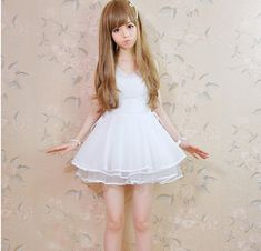 We offer FREE and FAST worldwide delivery for any of our item in the store. This product is shipped within 48/72 hours from your purchase.    New 2014 Moooh!! Cute Lolita Dress made of high quality chiffon.    A-Line style  Chiffon lining  Size : Length 75cm; Waist 72cm; Bust 90cm;(divide by 2,54...