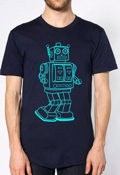 mens vintage robot t shirt- American Apparel navy blue- available in s, m, l, xl, xxl- Wordwide Shipping by missionthread on Etsy https://www.etsy.com/listing/163936994/mens-vintage-robot-t-shirt-american