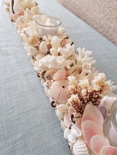 Your place to buy and sell all things handmade Seashell Centerpieces, Seashell Candles, Tea Light Candles, Centerpiece Wedding, Summer Centerpieces, Seashell Projects, Seashell Crafts, Beach Crafts, Seashell Art
