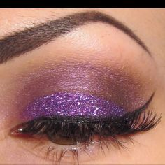 Purple glitter winged eye #SephoraColorWash #Purple
