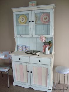 Restyled Vintage: The Duck Egg Distressed Hutch...