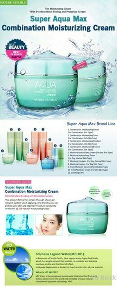 Super Aqua Max creams Asian Skincare, Nature Republic, All Things Beauty, Diy Beauty, Asian Beauty, Anti Aging, Aqua, Skin Care, Faces