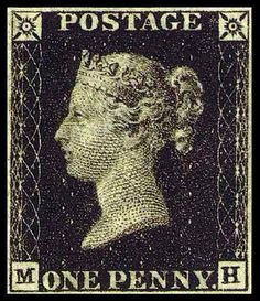 The Penny Black was the world's first adhesive postage stamp used in a public postal system. Britain 1 May 1840.
