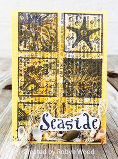 ATC by Robyn Wood using Darkroom Door Seaside Inchies Rubber Stamps - Summer Lovin' ATC Swap Gallery