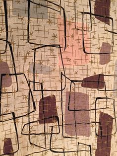 "RARE VTG Mid Century Modern Waverly Barkcloth Fabric ""Broken Blocks"" Atomic!!!"