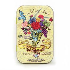 Abundancia triple acción: ¡Salud, Dinero y Amor! Composición: 50% Piedra de Imán, 20% Lentejas Orientales, 20% Ingenuidad, 10% Pelos de borrego viudo. Remedio Lata con 50 g. de pastilla comprimida de