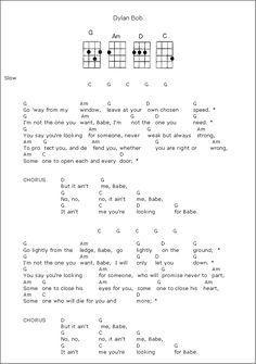 It Ain't Me Babe - Bob Dylan - ukulele chords