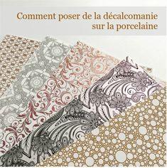Comment poser de la décalcomanie sur la porcelaine Stamping Up, Quilts, Blog, Image, Scrap, Decals, Mandalas, Painted Porcelain, China Painting