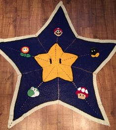 Mario Afghan Star Blanket - Free Crochet Pattern from Happy Crocheting.