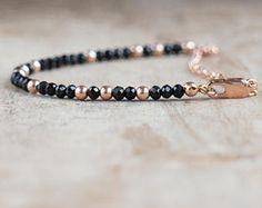 Black Spinel Bracelet in Gold, Rose Gold Filled or Silver, Dainty Gemstone Bracelet, Stackable Bracelet, Black Spinel Jewellery