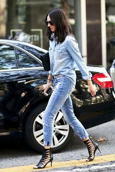 denim on denim // chambray button down shirt, distressed boyfriend jeans & strappy black sandals #style #fashion #streetstyle #spring