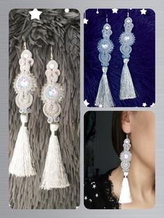 Soutache earrings rękodzieło white & silver snowflakes ❄️