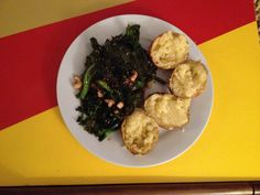 Purple sprouting broccoli with sesame seeds.