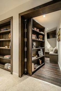 Book case door to hidden room