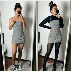 Black Striped Dress - Outfits for Work - Winter Outfits for Work Winter Fashion Outfits, Fall Winter Outfits, Look Fashion, Autumn Fashion, Dresses In Winter, Fall Skirt Outfits, Party Outfit Winter, Winter Night Outfit, Fashion Clothes