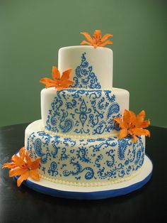 Wedding Cake With Henna Designs Www Hennagurus Indian Cakes And Cupcakes Pinterest