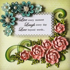 Paper Quilling , pink and blue flowers