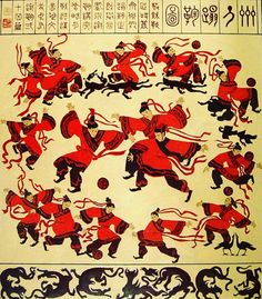 """Supporters.pro wishes you all a Happy Chinese new year with this ancient painting from the Han Dynasty (202BC-220AD) : """"All-star Chinese  soccer team playing in a soccer field with dogs and birds"""". #happychinesenewyear #supporterspro #soccer #football #chinesefootball"""