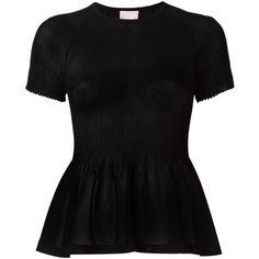 Giamba Pleated Peplum Top ($187) ❤ liked on Polyvore featuring tops, black, peplum tops, pleated top and giamba