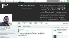 Si en el post lanzado el lunes había hablado del nuevo diseño de #Twitter, hoy el blog oficial ha comunicado que el nuevo diseño se activa para todas las cuentas desde este 23 de abril de 2014. Yo ya lo tengo activado en @FCPsocialmedia y en @chamineras. #nuevodiseñotwitter #socialmedia #redessociales