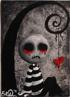 ACEO Dark Punk Emo Stripes Spooky Halloween Ugly Cute Heart Lowbrow Fantasy Original Painting 'Big Juicy Tears of Blood N' Pain' Cute Zombie, Zombie Art, Emo Art, Goth Art, Gothic Fantasy Art, Dark Gothic Art, Gothic Artwork, Arte Obscura, Ange Demon