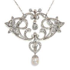 Platin, Diamanten & eine Perle - Fabelhaftes, großes Collier des Jugendstil, um 1905 von Hofer Antikschmuck aus Berlin // #hoferantikschmuck #antik #schmuck #antique #jewellery #jewelry // www.hofer-antikschmuck.de