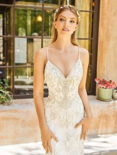 The Val Stefani WILLAMINA Net Mermaid Dress was created for sexy, elegant brides who love sleek fits, intricate details, and over the top beauty. Wedding Dresses With Straps, Perfect Wedding Dress, Designer Wedding Dresses, Wedding Gowns, Wedding Attire, Bridal Tops, Bridal Separates, Blush Bridal, Elegant Bride