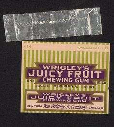 Chewing Gum Label (and foil cover) WRIGLEY'S JUICY FRUIT CHEWING GUM ca. 1940