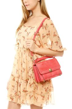Stylish Vintage Short Dress with Small Lizard Print Leather Bag