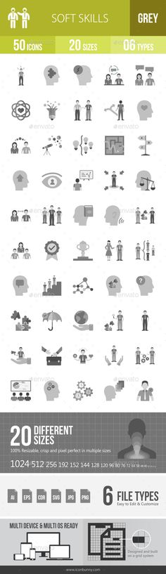 Soft Skills Greyscale Icons - #Icons Download here: https://graphicriver.net/item/soft-skills-greyscale-icons/20205550?ref=alena994
