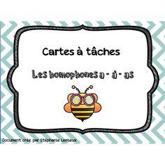 Cartes à tâches -Homophones A-À-As