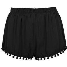 PLAIN SHORT W POM POM ($12) ❤ liked on Polyvore featuring shorts, bottoms, short, pants, pom pom shorts and short shorts