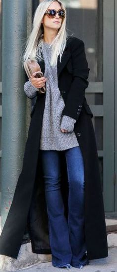 This long black wool coat is so cute with this cozy grey sweater and flared jeans for winter