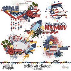 4th Of July Digital Scrapbooking Clusters By: Little Bit Shoppe