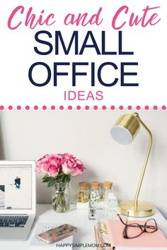 Small office ideas that are cute and chic, perfect for your at home office. Working from home can be comfortable and cute, even if you don't have a  big space. #small #officeideas #homeoffice