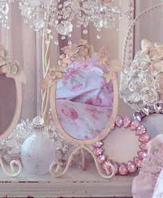Cottage Vanity Mirror: Scroll legs & tole roses / http://www.summersatthecottage.com/catalog/item/6485376/8902977.htm#