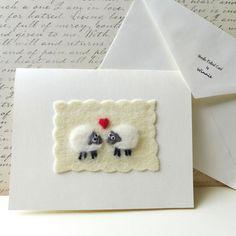 Sheep in Love card handmade needle felted OOAK by FunFeltByWinnie