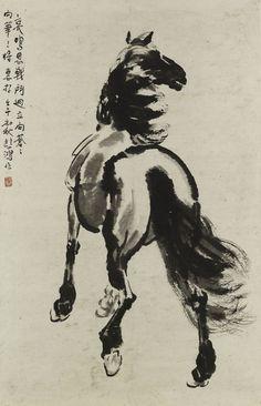Xu Beihong (徐悲鴻) , Standing Horse. 徐悲鸿一生创作了数千件中国画、油画和素描作品。北京徐悲鸿纪念馆收藏着他各个时期的作品1000余件,其他作品散见于台湾、香港、东南亚及世界各地的私人收藏,另有数十件油画精品毁于第二次世界大战。徐悲鸿的创作活动大致分4个时期。
