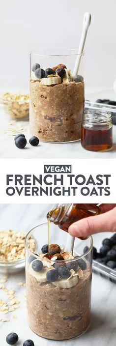 your french toast and oatmeal too. Make Maple French Toast Vegan Overnight Oats for an easy, make-ahead breakfast that's packed with maple and cinnamon flavor! This healthy vegan overnight oats recipe is high in fiber and whole grains. Overnight Oats With Yogurt, Easy Overnight Oats, Best Overnight Oats Recipe, Overnight Breakfast, Oatmeal Recipes, Healthy Breakfast Recipes, Vegan Oats Breakfast, Vegan Oatmeal, Healthy Breakfasts