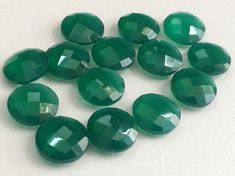 5 Pcs Green Onyx Round Faceted Stones Green Onyx by gemsforjewels