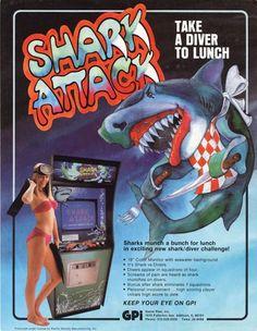 The Arcade Flyer Archive - Video Game Flyers: Shark Attack, Game Plan Vintage Video Games, Retro Video Games, Vintage Games, Retro Games, New Shark, School Videos, Arcade Machine, Arcade Games, Pinball Games