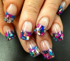 French Nail Art Design Gallery | Mosaic French Twist Nail Art Design Idea by Kim Hanzlik, Nails, Hands ...