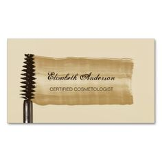 An elegant gold and brown cosmetology business card with a stroke of eye makeup from a mascara brush. Personalize this classy cosmetologist business card by adding the name of the certified beautician and salon.