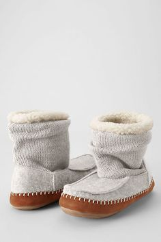 Women's Knit-Felt Bootie Slippers from Lands' End