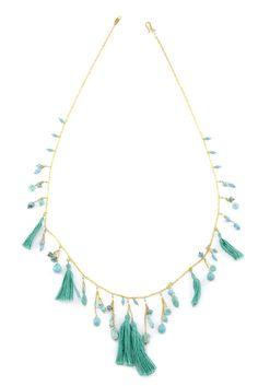 Chan Luu - Turquoise and Tassel Layering Necklace, $205.00 (http://www.chanluu.com/necklaces/turquoise-and-tassel-layering-necklace/)