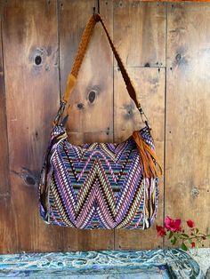 Lila W Huipil on a Handwoven boho Vintage Textiles, Textile Art, Hand Weaving, Shoulder Bag, Boho, Hand Knitting, Shoulder Bags, Bohemian, Weaving