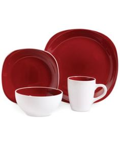 Gibson Chicstone Square Red 16-Pc. Set, Service for 4 | macys.com