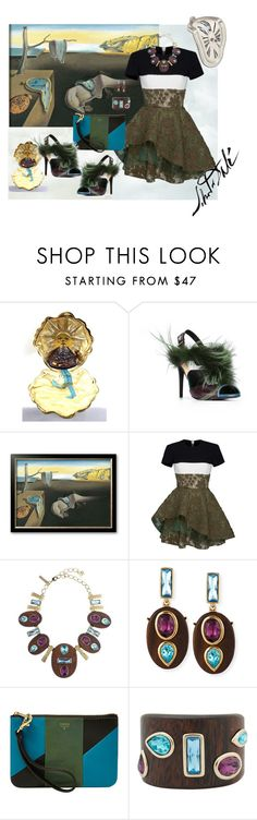 """Art & Fashion: Dalí #1"" by mariloli1303 ❤ liked on Polyvore featuring Fendi, Alex Perry, Oscar de la Renta, FOSSIL and Salvador Dali"